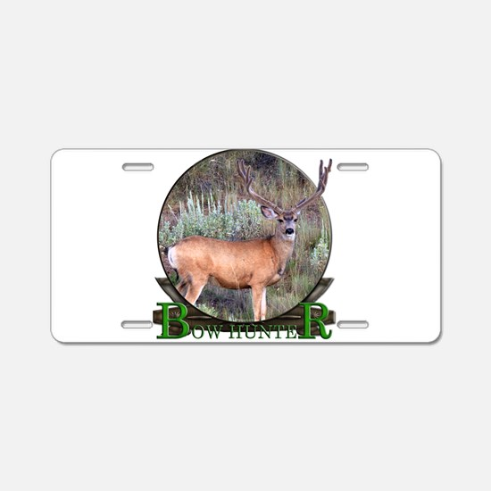 bow hunter, trophy buck Aluminum License Plate