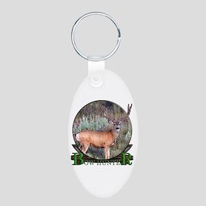 bow hunter, trophy buck Aluminum Oval Keychain