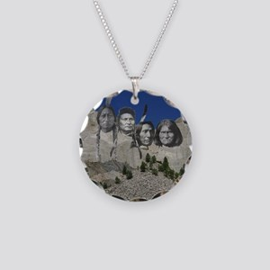 Native Mt. Rushmore Necklace Circle Charm
