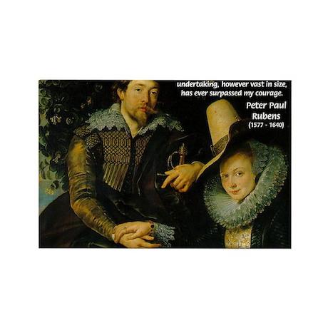 Rubens Self Portrait & Quote Rectangle Magnet