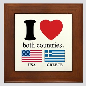 USA-GREECE Framed Tile