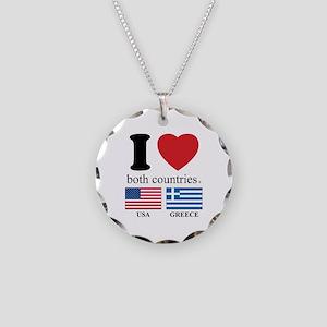 USA-GREECE Necklace Circle Charm