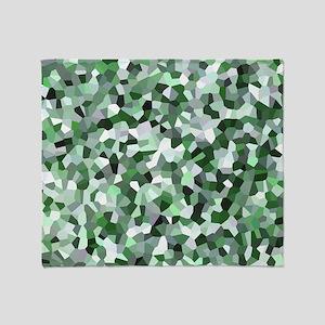 Green Mosaic Pattern Throw Blanket
