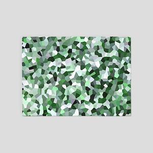 Green Mosaic Pattern 5'x7'Area Rug