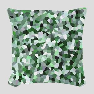 Green Mosaic Pattern Woven Throw Pillow
