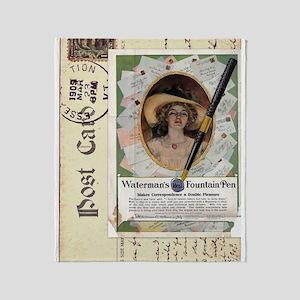 1909 Waterman's Pen Ad Throw Blanket