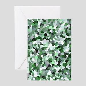 Green Mosaic Pattern Greeting Card