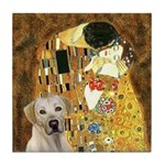 The Kiss-Yellow Lab Tile Coaster