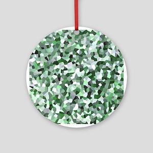 Green Mosaic Pattern Round Ornament