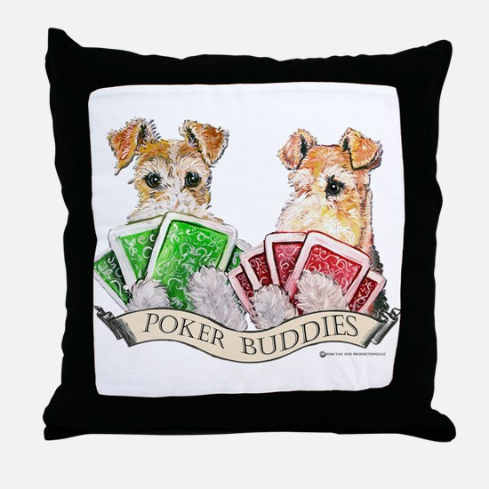 Fox Terrier Poker Buddies Throw Pillow