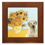 Sunflowers-Yellow Lab 7 Framed Tile