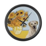 Sunflowers-Yellow Lab 7 Large Wall Clock