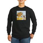 Sunflowers-Yellow Lab 7 Long Sleeve Dark T-Shirt