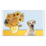 Sunflowers-Yellow Lab 7 Sticker (Rectangle)