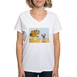 Sunflowers-Yellow Lab 7 Women's V-Neck T-Shirt