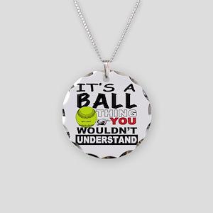 Girls Softball Necklace Circle Charm
