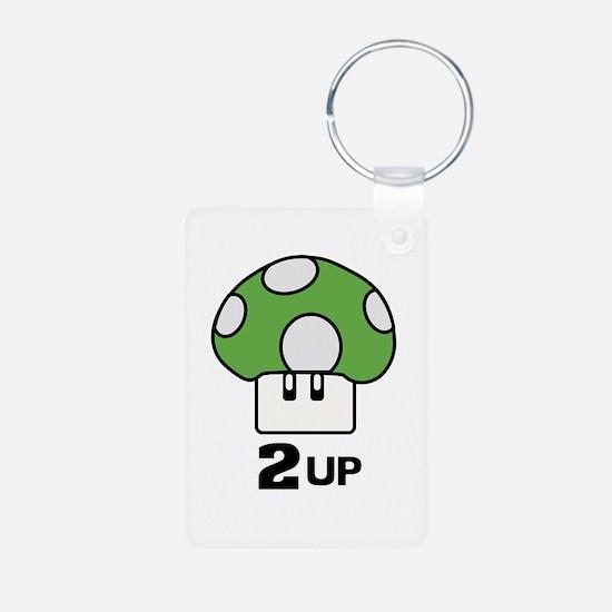 2 Up mushroom Aluminum Photo Keychain