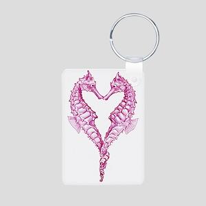 Seahorses heart Aluminum Photo Keychain