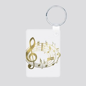 Golden Musical Notes Oval Aluminum Photo Keychain