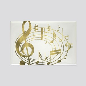 Golden Musical Notes Oval Rectangle Magnet