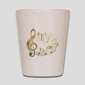 Golden Musical Notes Oval Shot Glass