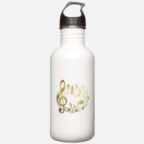 Golden Musical Notes Oval Water Bottle