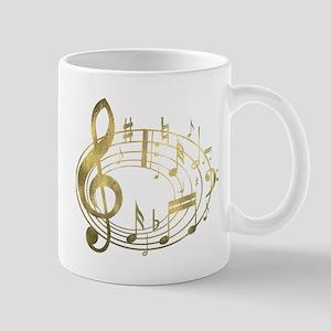Golden Musical Notes Oval Mug