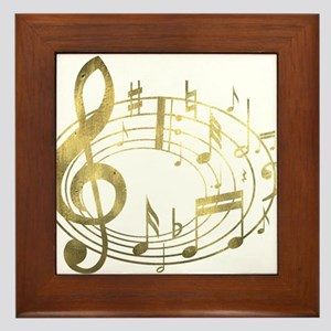 Golden Musical Notes Oval Framed Tile