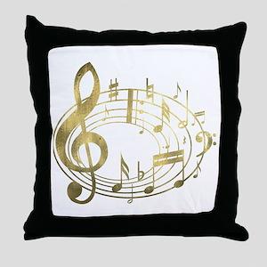 Golden Musical Notes Oval Throw Pillow