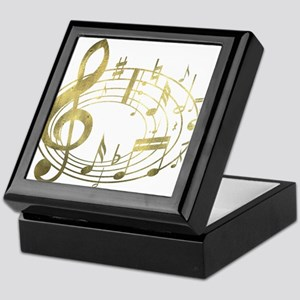 Golden Musical Notes Oval Keepsake Box