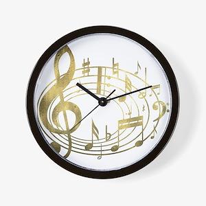 Golden Musical Notes Oval Wall Clock