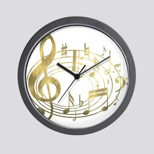Golden Musical Notes Oval Wall Clock