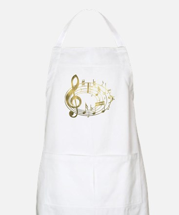 Golden Musical Notes Oval Apron