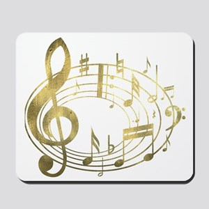 Golden Musical Notes Oval Mousepad