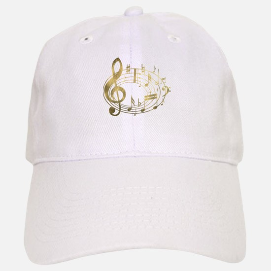 Golden Musical Notes Oval Baseball Baseball Cap