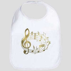 Golden Musical Notes Oval Bib