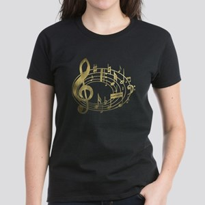 Golden Musical Notes Oval Women's Dark T-Shirt