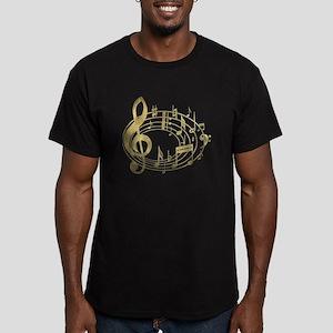 Golden Musical Notes Oval Men's Fitted T-Shirt (da