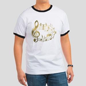 Golden Musical Notes Oval Ringer T