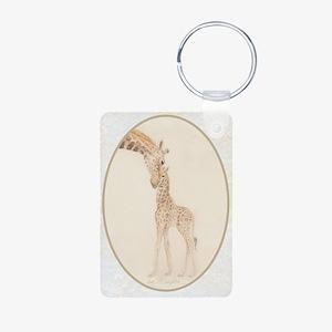 mom & baby giraffe Aluminum Photo Keychain