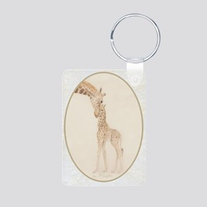mom & baby giraffe Aluminum Photo Keychain