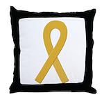 Gold Ribbon Throw Pillow