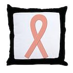 Peach Ribbon Throw Pillow