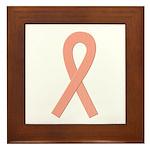 Peach Ribbon Framed Tile