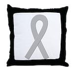 Gray Ribbon Throw Pillow