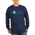 Blue Ninja Logo Long Sleeve Dark T-Shirt