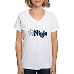 Blue Ninja Logo Women's V-Neck T-Shirt