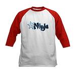 Blue Ninja Logo Kids Baseball Jersey