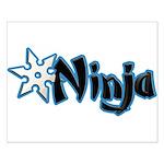 Blue Ninja Logo Small Poster