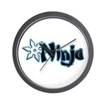 Blue Ninja Logo Wall Clock